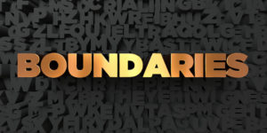 Boundaries - Gold text on black background - 3D rendered royalty free stock picture. This image can be used for an online website banner ad or a print postcard.